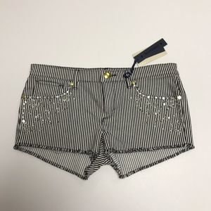 Juicy Couture Diamond Embellished Pin Stripe Short